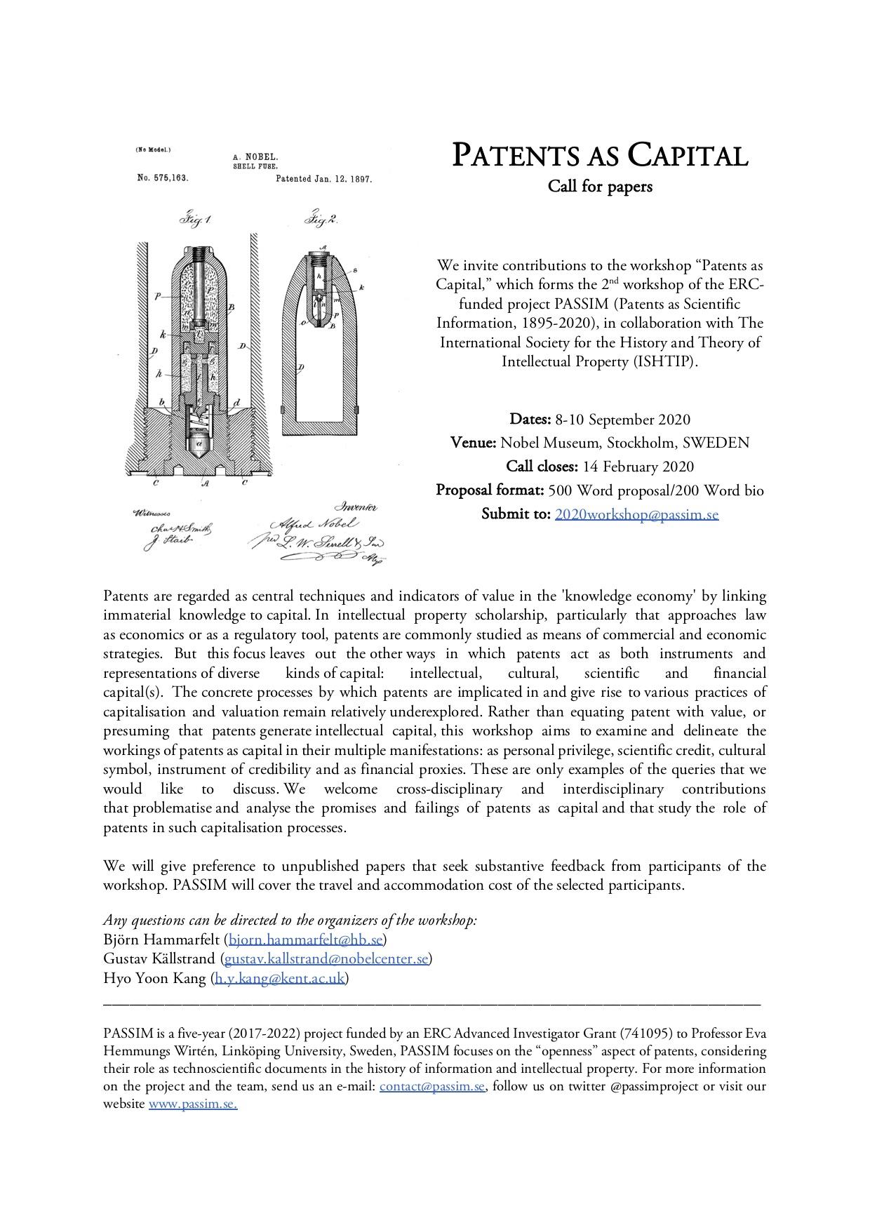 CfP PASSIM patents as capital workshop